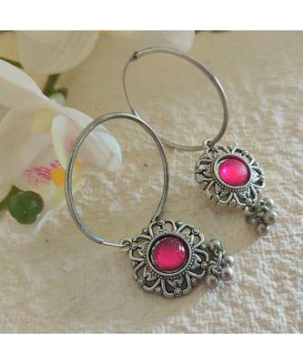German Silver Bali In Pink Stone