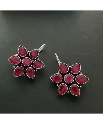 Pink Stone Loop Earring