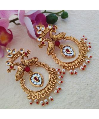 Silver And Golden Coin Earring
