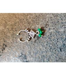 German Silver Septum Ring In Green Pearl