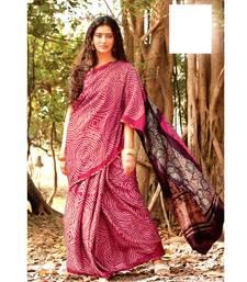 Pink block print Satin sarees with blouse