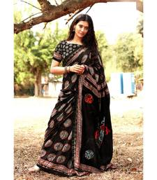 Black block print Satin sarees with blouse