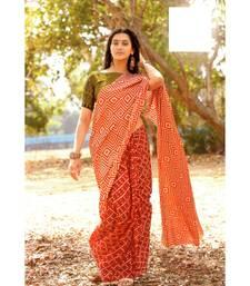 Red block print Satin sarees with blouse