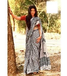 White block print Satin sarees with blouse