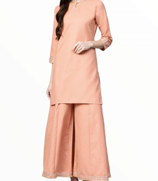 Peach plain cotton long-kurtis