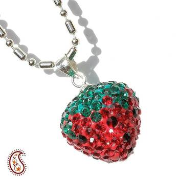 Red Strawberry Swarovski Crystal Pendant