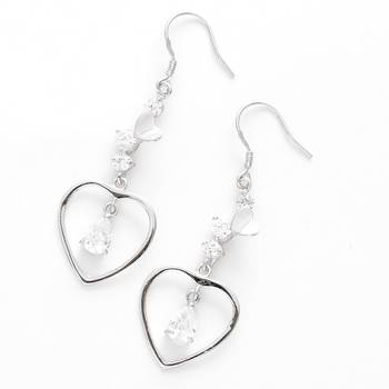 Heart Drop CZ Hoop Earrings