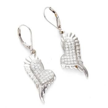 White CZ and Silver Earrings