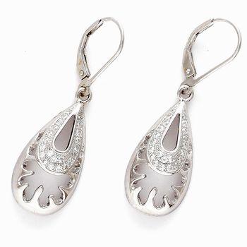 Tear Drop White CZ Hoop Earrings