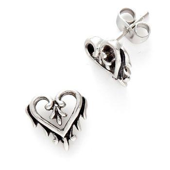 Oxidised Heart Stud Earrings