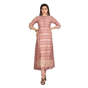 Pink embroidered silk long-kurtis