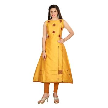 Mustard embroidered art silk long-kurtis