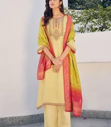 Yellow embroidered pure silk salwar