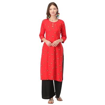 Red printed rayon long-kurtis