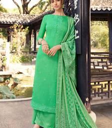 Green embroidered pure silk salwar