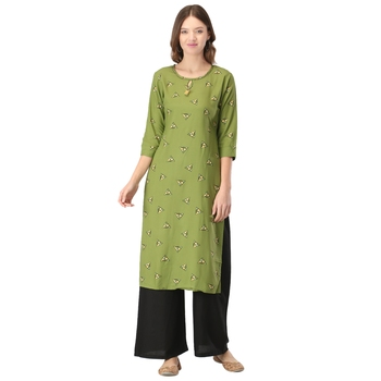 Green printed rayon long-kurtis