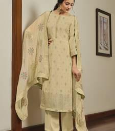 Beige embroidered art silk salwar
