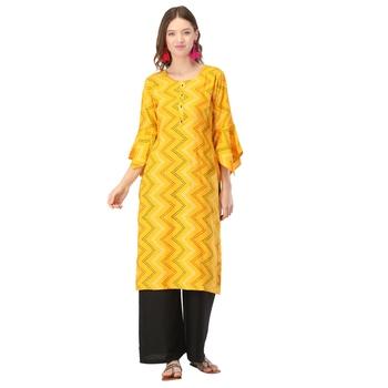 Yellow printed rayon long-kurtis