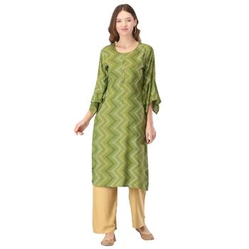 Light-green printed rayon long-kurtis