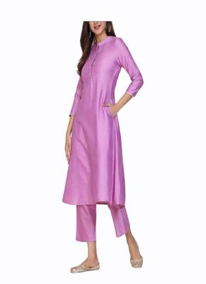 Purple plain cotton long-kurtis