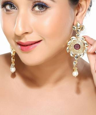 Ruby CZ and Kundan Dangler Earrings