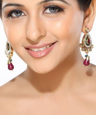 Ruby CZ and Kundan Dangler Earrings