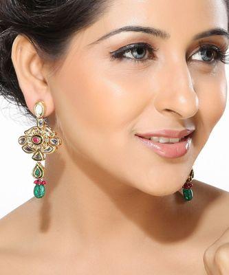 Kundan and Meena work Dangler Earrings
