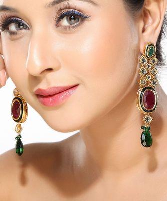 Kundan Emerald and Ruby Dangler Earrings