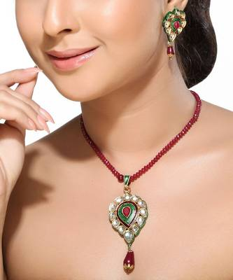 Meenakari Kundans and Ruby Pendant Set