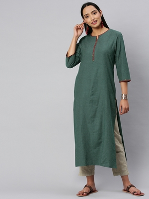 Olive Green And Off White Woven Check Kurta With Handwork On Neckline And Sleeves.