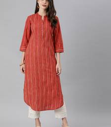 Coral And Multi Color Stripe Straight Kurta With Curved Hemline And Roll Up Sleeves.