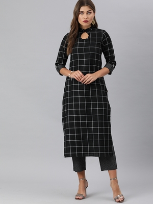 Black And White Woven Check Kurta With Trousers.