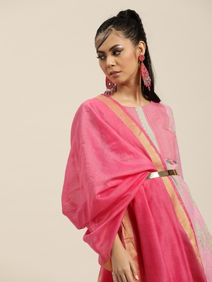 Pink And Multi Color Woven  Straight Kurta With Pink Woven Trouser With Pink Silk Dupatta