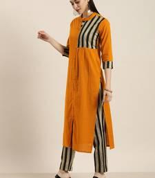 Mustard And Grey Woven Stripe Kurta With Stripe Woven Trouser.