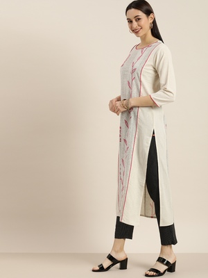 Off White And Pink Floral Printed Straight Kurta With Black And White Stripe Trouser.