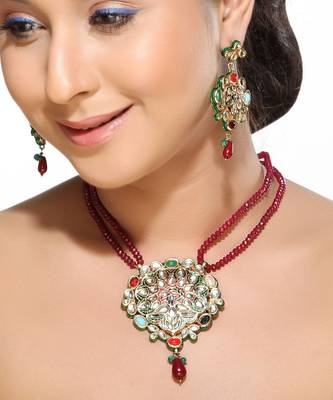 Meenakari multicolour gemstones Kundan Pendant Set