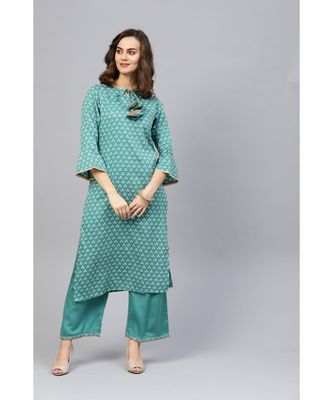 Indo Era Green Bandhani Printed Straight Kurta with Palazzo Set