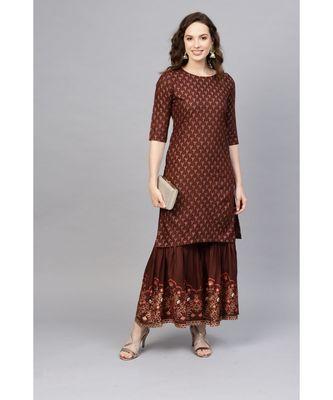 Indo Era Foil Printed Straight Kurta with Sharara Set