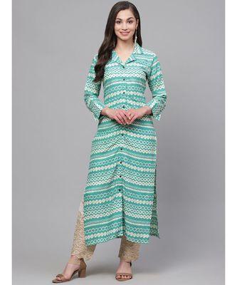 Indo Era Green Printed Straight Kurta with Pant Set