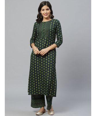 Indo Era Green Foil Printed Straight Kurta Set