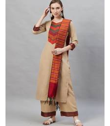 Indo Era Beige Solid Straight Kurta Palazzo with Dupatta Sets