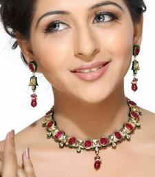 Buy Oval Rubies and Kundans Necklace Set Necklace online