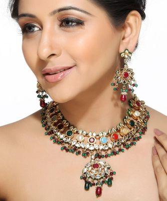 Navaratnas Ruby Emerald Beads Kundans Necklace Set