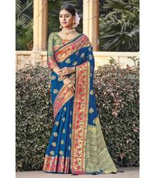 Blue Weaving With Jacquard Work Silk Saree with blouse