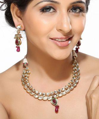 White Kundans ,Ruby Beads Necklace Set