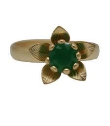 Buy Classy emerald green stone flower gold ring Ring online