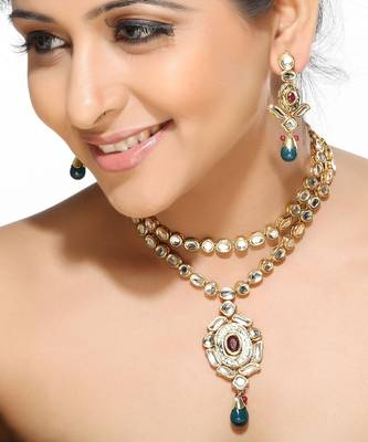 CZ,Kundans,Rubies and Emerald Beads Necklace Set