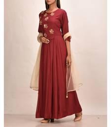 mahroon muslin silk three quarter sleeves solid women gown