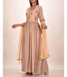 muslin silk three quarter sleeves solid women gown