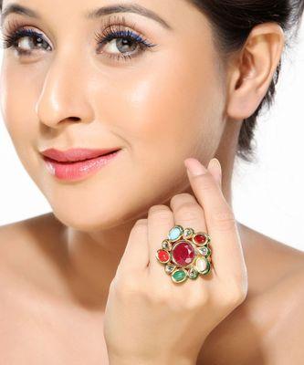 A delightful Navratan Kundan Ring